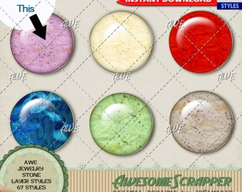 Digital Design Tool - Jewelry Quality Stone Photoshop Layer Styles - Multi color