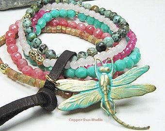 Dragonfly Beaded Bracelet, Stack of Pastel Mix Gemstone, Coastal Summer, Stacking Boho Bracelet, Set of Six Bracelet, Beaded Bracelet Set
