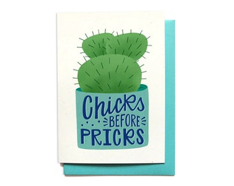 Funny Anti-Love Card - Chicks Before Pricks - Love Stinks Card - Funny Anti-Valentines Day Card - Galentines Day - LV30