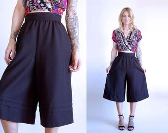 Vintage Culottes Wide Leg Black Cropped Trousers