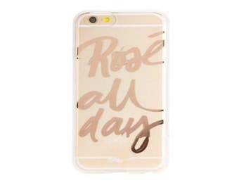 Wine iPhone Case, Clear Transparent Wine Phone Case, Rose All Day Wine Gift,  wine decor, wine iPhone case, iPhone 6 clear case