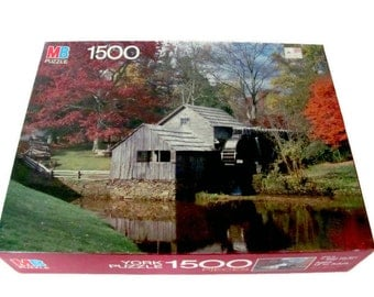 Vintage Milton Bradley Jigsaw Puzzle, 1980s Rustic Scene, Mabry Hill, Blue Ridge, Virginia, 1,500 Pieces, Sealed