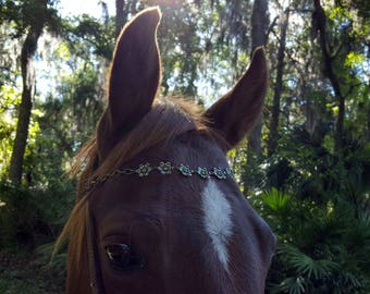 Glittering Flowers Browband for Small Horse Pony or Miniature Horse - Horse Jewelry - Equine Bling Tack Jewelry