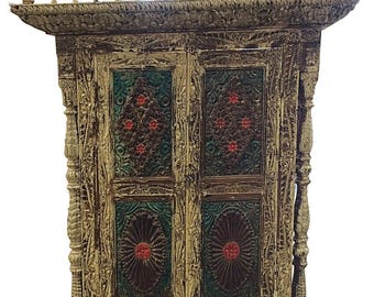 18c Antique Jharokha Carved Peacock India Architectural Window Wall Sculpture Chakra Medallions Red Green Whitewash patina