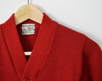 "Vintage 50s Red Award/Varsity Cardigan by Em Roe Boys Size 29.5"" Chest"