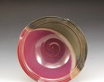 Handmade  Pottery Stoneware Bowl Plum Red Brown by Mark Hudak