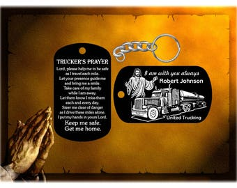 Tanker Truck Driver Gift - Trucker's Prayer Dog Tag Keychain - Jesus Design, I am with you always - Personalized