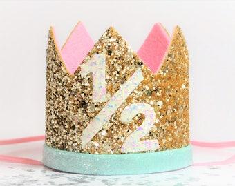 Half Birthday Crown    Half Birthday Outfit Girl    Pink Gold Birthday Crown    Baby Birthday Crown