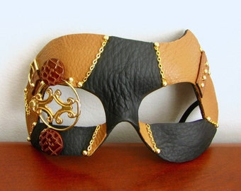 Steampunk Mask Butterscotch Leather With Gold Monocle - The Coroner