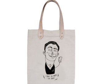 Tote Bag - Screenprint Over Cotton Canvas With Leather Tote Bag Salvador Dali