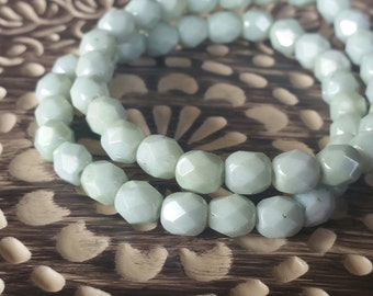 6mm Opaque Mint Green Luster Fire Polished Glass Beads, qty. 20pcs