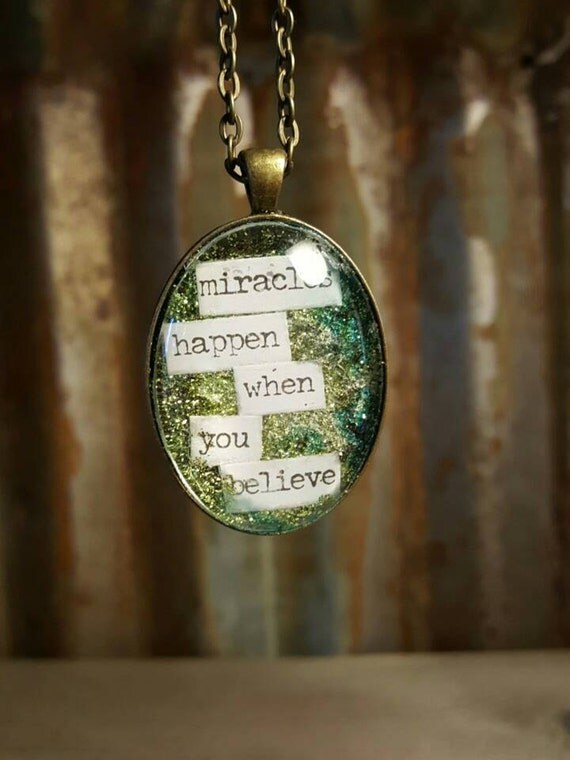 Glass Oval Pendent with Glitter, Glitter words, Brass Pendent