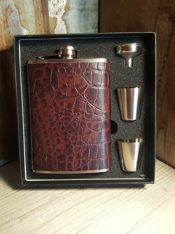 Flask, Boot Flask, Tooled Leather Flask, Hand-crafted Leather Flask, Hip Flask