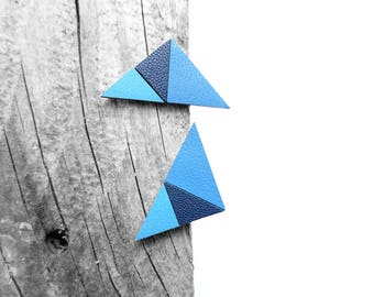 Blue Geometric Leather Post Stud Earrings