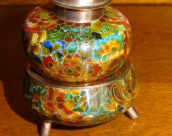 Vintage Cloisonne Stack Open Salt and Pepper