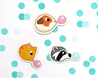 Animal stickers, vinyl stickers, laptop stickers, cute stickers, sticker set, sticker pack, bubblegum stickers, cat, guinea pig, raccoon