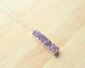Sparkling PURPLE Druzy Necklace- Purple Druzy Bar Necklace- Gemstone BAR NECKLACE- Genuine Druzy