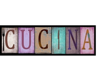 Cucina sign, rustic sign, #2,  Kitchen Decor For Your Home in various sizes. Mounted and ready to hang, plus fast and free shipping