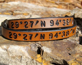 Mens Womens Latitude Longitude Custom Coordinates Set of 2 Personalized GPS Leather Bracelet Couples Jewelry Wedding 3rd Anniversary