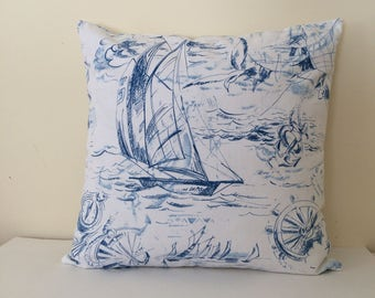 Blue Nautical Pillow Cover, Sailing Pillow Cover, Beach Decor Pillow Cover