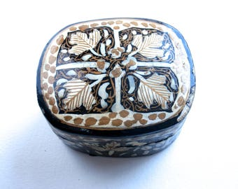 Miniature Box - Trinket Box - Small Box - Vintage - Paper Mache Box - Decorative Box