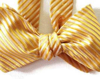 Silk Bow Tie for Men - Sunshine Stripe - One of-a-Kind, Handtailored, Self-tie - Free Shipping