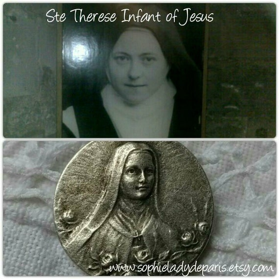 Saint Therese Medal Silver Antique French Religious I shall spend my time in heaven doing good on earth #sophieladydeparis