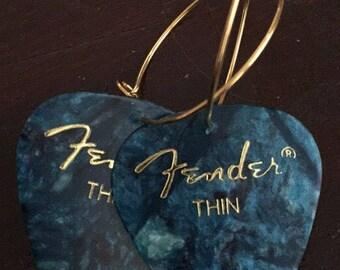 Blue Fender Guitar Pick on Thin Gold Metal Hoops