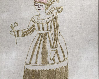 Woman With Flowers, Unframed Machine Embroidery, (Ready To Ship)