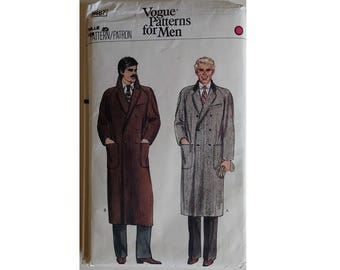 UNUSED Vogue #7467 Men's Double Breasted Lined Winter Wool Coat Sewing Pattern Pattern Chest 40""