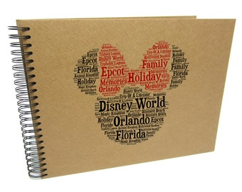 Personalised A3/A4/A5 Disney Word Art Scrapbook Photo Album, Memory Gift, Guestbook