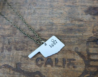 Oklahoma 1997 Love Hand-Stamped Necklace