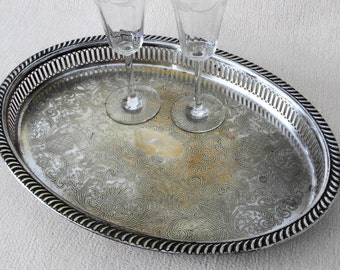 Silver Tray Made in England / Antique English large serving tray PLATO brass silver plated barware / Timeless gifts & more