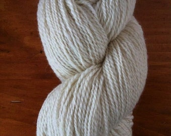 Suffolk wool and alpaca yarn - local homegrown - sport weight 300 yards - undyed white natural