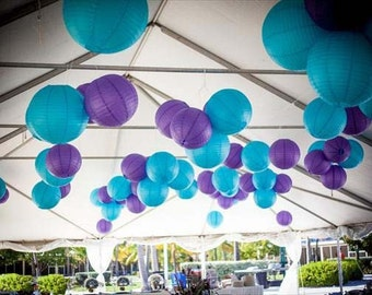 18x Peacock Blue & Purple Paper Lanterns for Wedding Engagement Anniversary Birthday Party Hanging Decoration