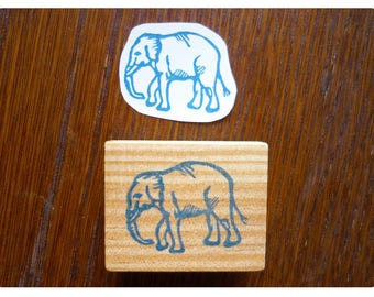 Rubber stamp elephant engraved by hand