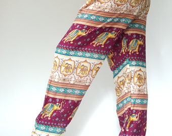 CH0066 Rope and Elastic Waist Lady pants - bohemian clothing women yoga pants harem pants hippie trousers