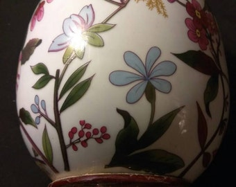 """Vintage Asian porcelain 9"""" tall egg with multicolored floral design ."""