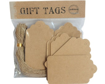Brown Hang Tag Product Labels Shop Price Scallop Cards with Strings