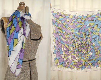 Vintage Rayon Scarf - 1950s Large Square Rayon Scarf, 50s Abstract Purple Green Square Scarf, Head Neck Scarf