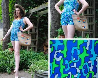 Geometric Print One Piece Shorts Swimsuit