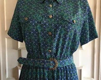 Vintage 80's Leslie Fay Pleated Accordian Skirt Kaleidoscope Belted Secretary Dress, Size 16