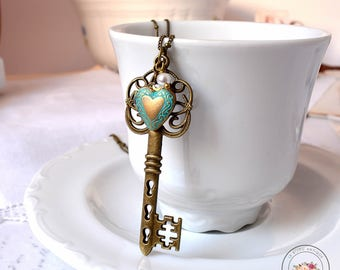 Skeleton Key necklace Antique heart Pendant Bronze vintage heart Locket Gift for her Bronze and blue openable tiny heart