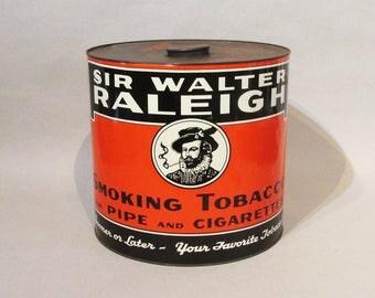 Very Large Store Display Tin - Sir Walter Raleigh - Rare 1920's - 1930's!