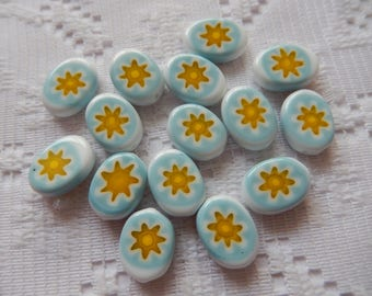 15  Sky Blue Yellow & White Flat Oval Millefiori Lampwork Glass Beads  13mm x 10mm