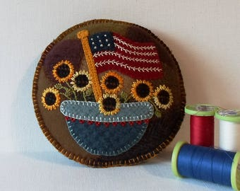 Handmade Americana Felted Wool Embroidered Crazy Patch Pincushion