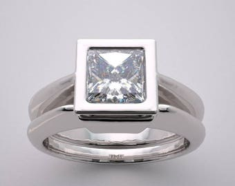 14K Square Engagement Ring Setting Set Contemporary Design