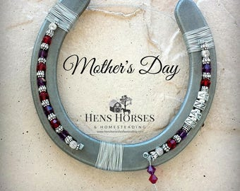 Horseshoe | Mother's Day Mom Two Birthstone Horseshoe | Gift for Mom | Mother's Day Gift | Children's Birthstones | Horse Décor | Two