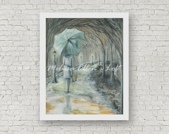 "Girl with Umbrella painting, art print, mixed media, ""A Stroll in the Park"""