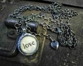 LOVE Soldered Pendant and Vintage Black Heart on Long Chain, Glass Bubble Pendant, Word Jewelry, Charm Necklace